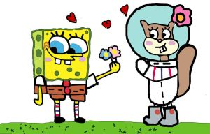 spongebob x sandy love by starbeauty91