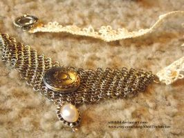Pearl, Maille, and Lace Necklace (process pic) by ulfchild
