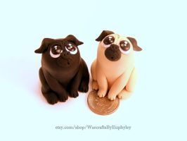Black and Fawn Polymer Clay Pugs by Euphyley