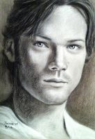 Sam Winchester charcoal drawing by VisualJamie