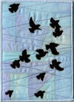 quilted postcard - black birds by DamnSkippyDesigns