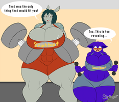 Commission - Babes in the Gym by XSuperiX