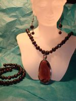 Jet Black Glass & Garnets with Faceted Glass Penda by JennyKalifeh