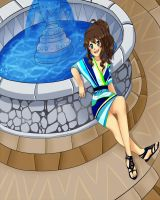 By the water fountain by Reaper145
