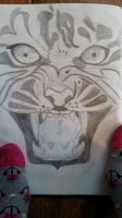 Tiger face in page, quick sketch by theHipHoper