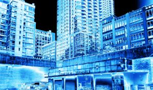 New York in Blue - Lincoln Tunnel by Jinokoya