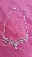 Silver filigree necklace Leaves by weltenmeer
