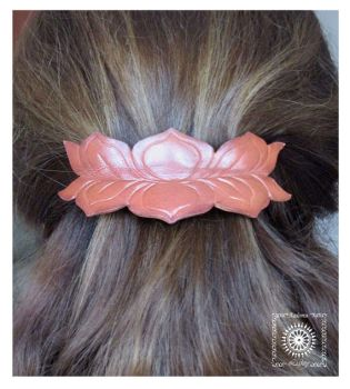 Leather barrette. Lotus by byLighty