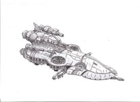 Final Fantasy-ish spaceship by FoxHoundGabe