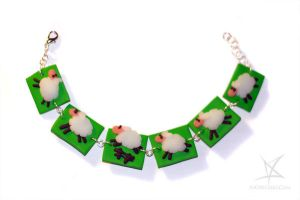 Counting sheep bracelet by MissAnnThropia