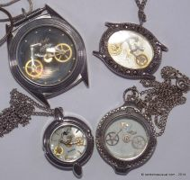 Watch Part Bicycles in Watch Cases - Pendants by randomasusual