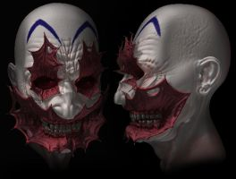 early test colour clown head by mx