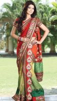 Net Viscose And Georgette Embroidered Bridal Saree by brijrajfashion