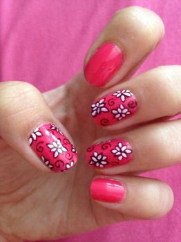 Pink Flower Nail Art by xRixt