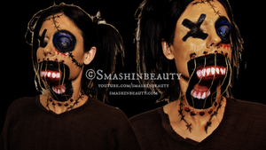 Creepy Scary Voodoo Doll Makeup Halloween Make by smashinbeauty