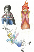 Marceline, Flame Princess and Fionna by FizzyBubbles