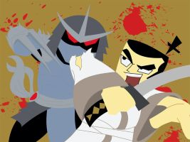 Samurai Jack Vs The Shredder by happymonkeyshoes