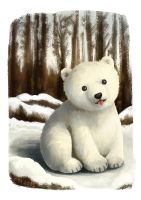 Baby Polar Bear by florangejuice