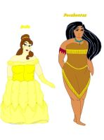 Thick Belle and Pocahontas by ColdHeartedCupid