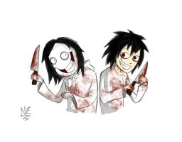 Jeff the Killer and B by natzanga