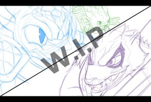 WIP Snap Shot and Food Fight Vs Wolfgang Sketch by DrakorDragon