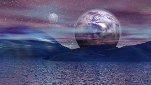 Lake from the other blue planet by Topas2012