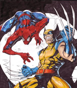 Spiderman and Wolverine Promarker by Thestickibear