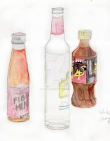 Watercolour Bottles by ojamajomary