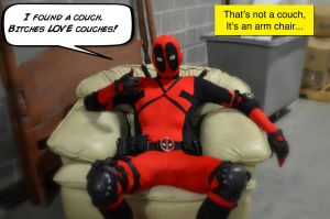 Deadpool Found a Couch by SnuffBomb