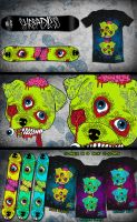 Nightmare Mutts - Snowboard+T-Shirt by psychoren