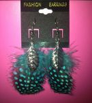 Black and Blue Feather Earrings by Mikomi-Hatake