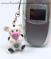 Mrs Moo Polymer Clay Charm by HeartshapedCreations