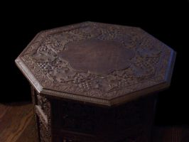 Carved wooden table 02 by barefootliam-stock