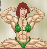 Lady Kita double biceps pose by LordKelvin