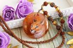 Caracal I - handmade painted stone pendant by LunarFerns