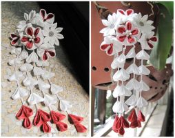 Simple red and white kanzashi by CovenEye