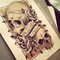 Memento Mori Skull and Rose Tattoo Design by kirstynoelledavies