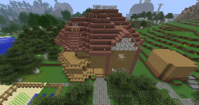 Front view victorian house MINECRAFT by monkey100132