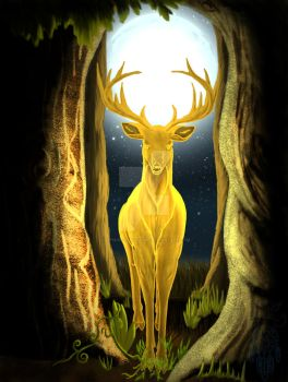 Cernunnos, The Golden King Stag by sapphire-blackrose