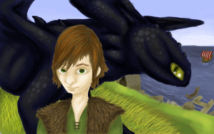 Hiccup and Toothless by redkitebait