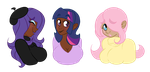 Rarity, Twilight Sparkle, and Fluttershy by Atelophobix