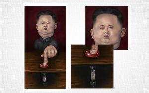 Kim Jug Un finger on the button by jweb3d