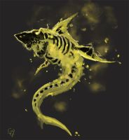 Flaming Skeleton Shark by Halycon450