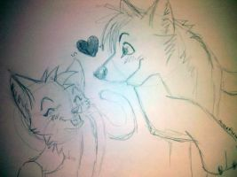 wolf and cat sketch by mewryme