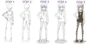 Basic full-body Girl tutorial by red-jello04