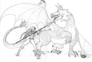 Drew with a dragon by Dottwing