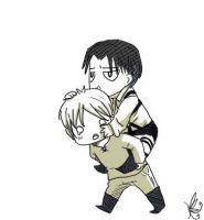 Rivaille on Eren's back by OwOneverever