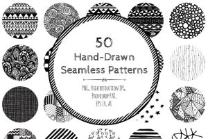 60% OFF! 50 Seamless Hand-Drawn Patterns by HelgaHelgy