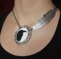 Raven cameo goth choker by Pinkabsinthe