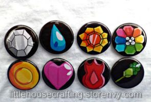 Indigo Pokemon badges 1.25 inch pinback buttons by LittleHouseCrafting